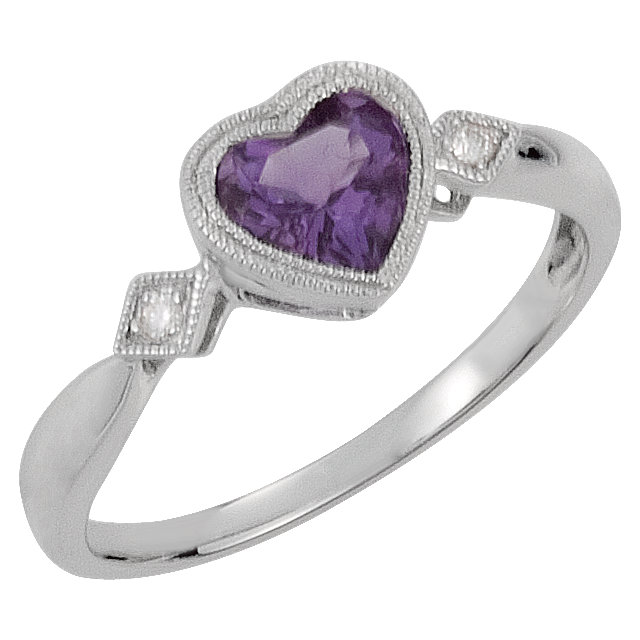 Chic 14 Karat White Gold Amethyst & .02 Carat Total Weight Diamond Ring