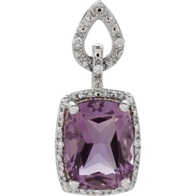 Stunning 14 Karat White Gold Cushion Genuine Amethyst & .025 Carat Total Weight Diamond Pendant