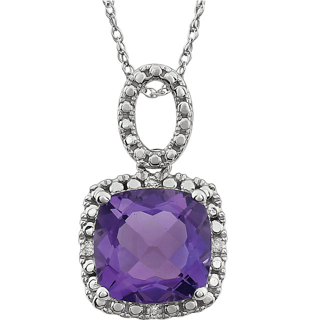 Low Price on Quality 14 KT White Gold Amethyst & .03 Carat TW Diamond 18