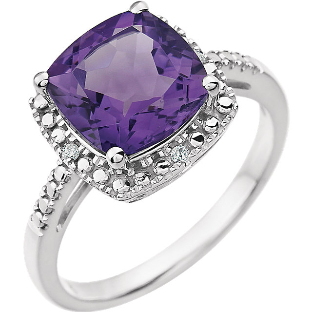 Trendy 14 Karat White Gold Cushion Genuine Amethyst & .03 Carat Total Weight Diamond Ring