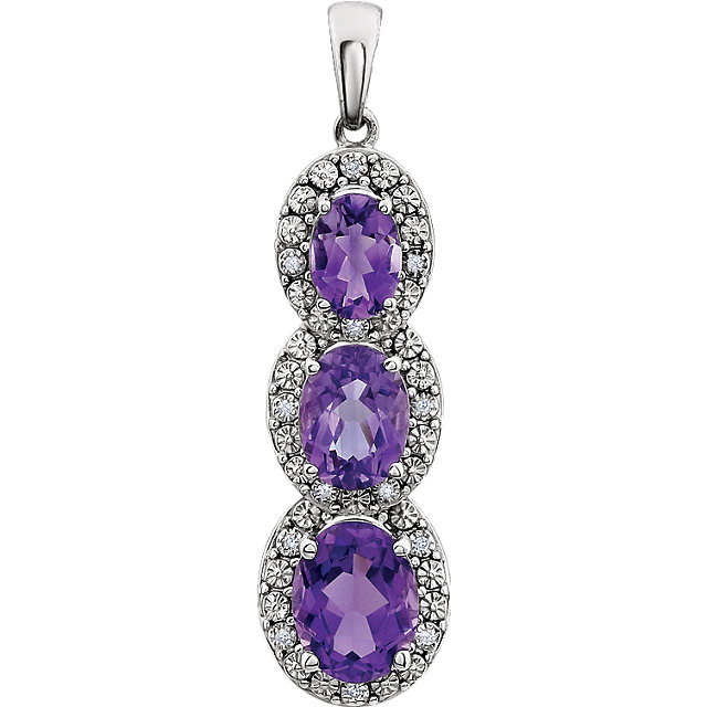 Great Deal in 14 Karat White Gold Amethyst & .04 Carat Total Weight Diamond Three-Stone Pendant