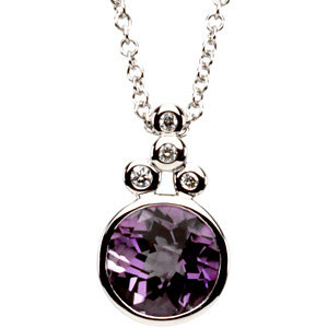 14KT White Gold Amethyst .04 Carat Total Weight Diamond Necklace