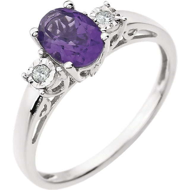 Perfect Gift Idea in 14 Karat White Gold Amethyst & .04 Carat Total Weight Diamond Ring