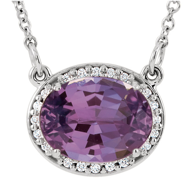 Contemporary 14 Karat White Gold Amethyst & .05 Carat Total Weight Diamond 16.5