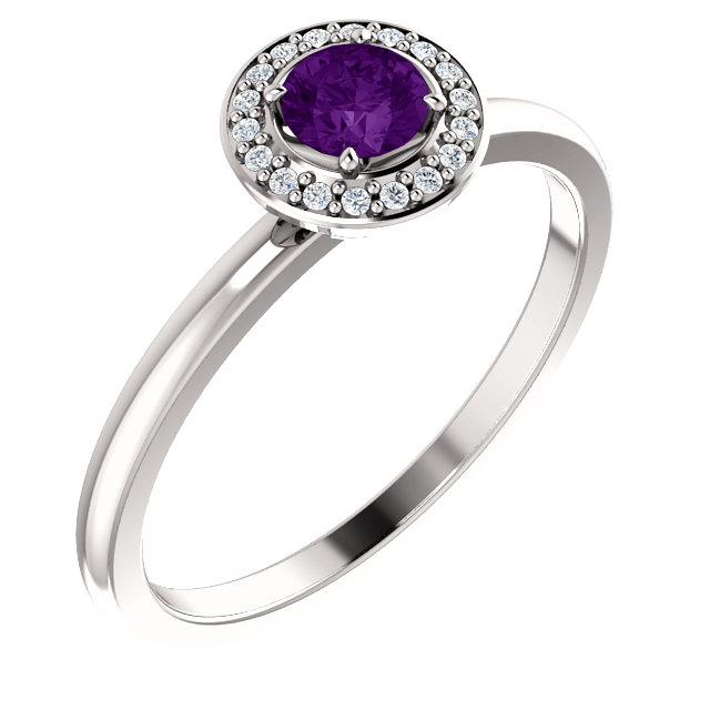 Perfect Jewelry Gift 14 Karat White Gold Amethyst & .05 Carat Total Weight Diamond Ring