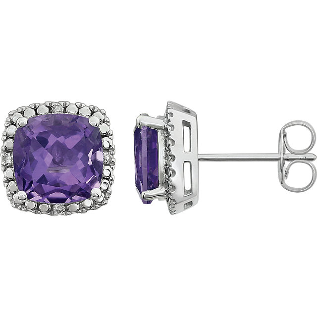 Appealing Jewelry in 14 Karat White Gold Amethyst & .06 Carat Total Weight Diamond Earrings