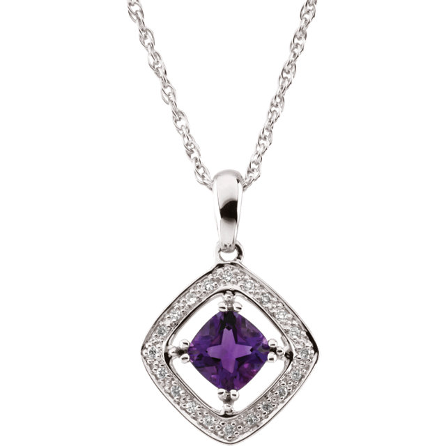 Eye Catchy 14 Karat White Gold 6x6mm Square Amethyst & 0.10 Carat Total Weight Diamond 18