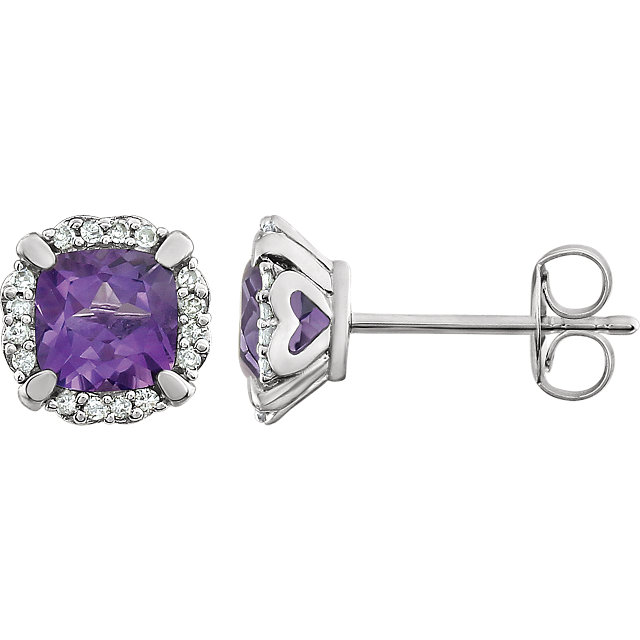 Spectacular 14 Karat White Gold Cushion Genuine Amethyst & 0.10 Carat Total Weight Diamond Earrings