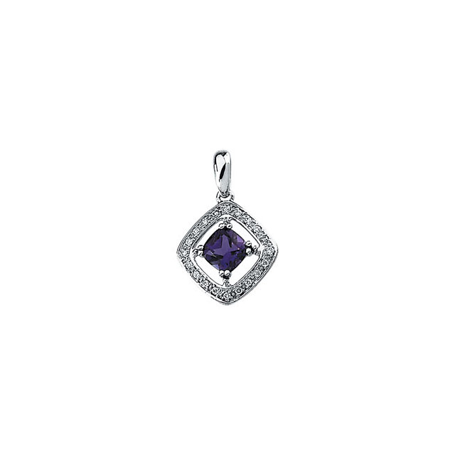 Must See 14 KT White Gold Amethyst & 0.10 Carat TW Diamond Pendant
