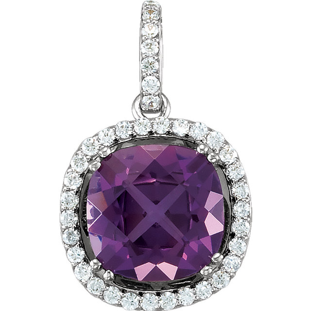 Stunning 14 Karat White Gold Amethyst & 0.40 Carat Total Weight Diamond Pendant