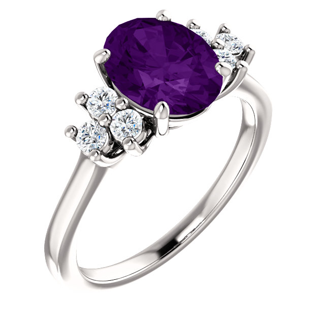 Very Nice 14 Karat White Gold Amethyst & 0.25 Carat Total Weight Diamond Ring