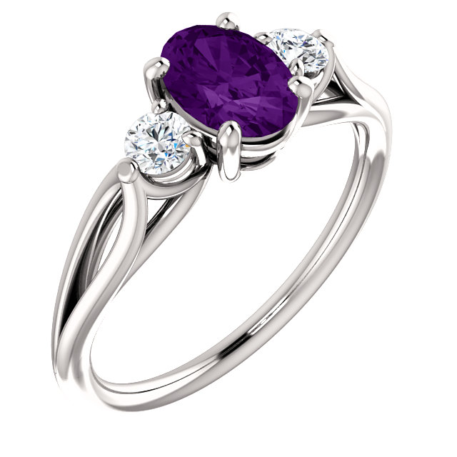 Striking 14 Karat White Gold Oval Genuine Amethyst & 1/5 Carat Total Weight Diamond Ring
