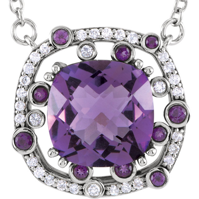Deal on 14 KT White Gold Amethyst & 0.17 Carat TW Diamond 16