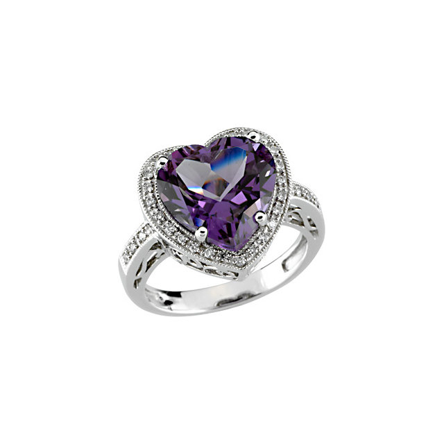 Great Buy in 14 Karat White Gold Amethyst & 0.17 Carat Total Weight Diamond Ring