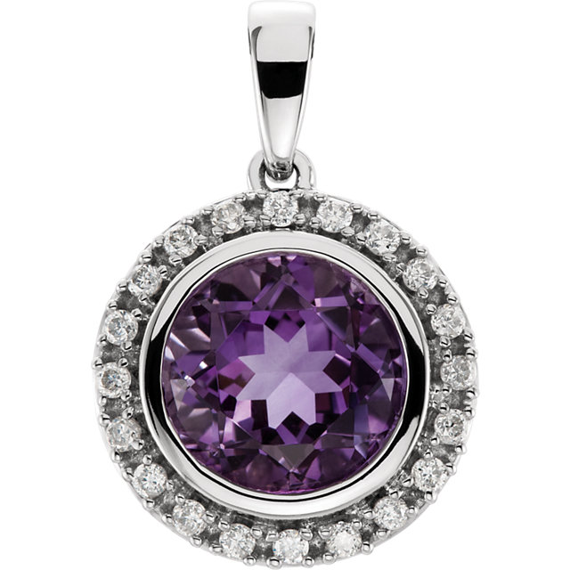 Fine Quality 14 Karat White Gold Amethyst & 0.12 Carat Total Weight Diamond Halo-Style Pendant