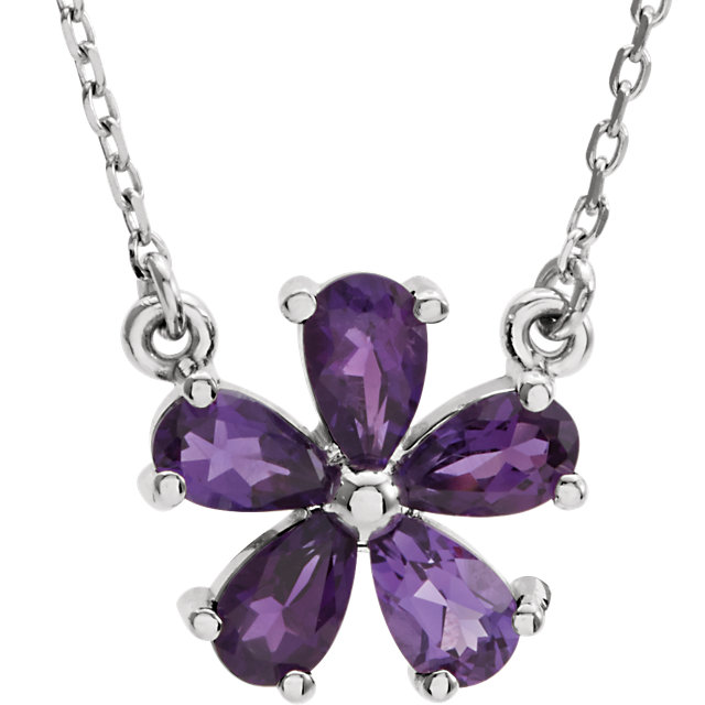 Buy Real 14 KT White Gold Amethyst 16