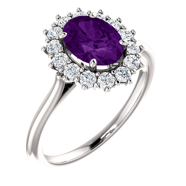 Chic 14 Karat White Gold Amethyst & 0.40 Carat Total Weight Diamond Ring