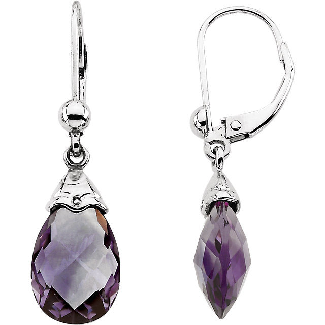 Perfect Jewelry Gift 14 Karat White Gold Amethyst Briolette Earrings