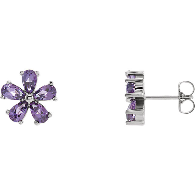 Low Price on Quality 14 KT White Gold Amethyst Earrings