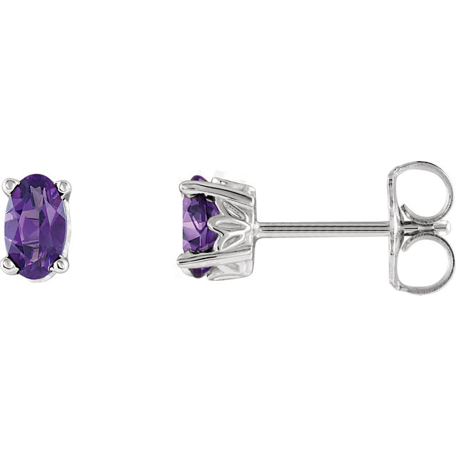 Perfect Gift Idea in 14 Karat White Gold Amethyst Earrings