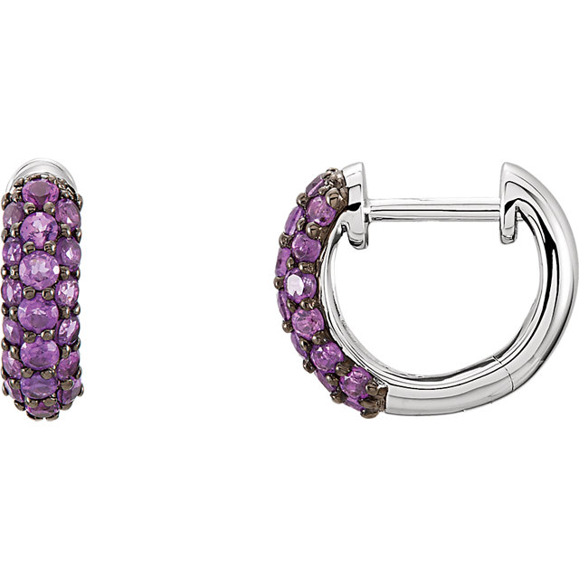 Very Nice 14 Karat White Gold Amethyst Earrings