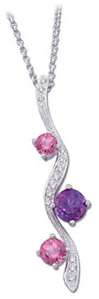 14KT White Gold .Amethyst, Garnet & Pink Tourmaline & .08 Carat Total Weight Diamond Necklace