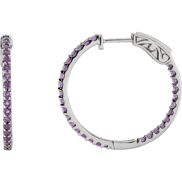 Excellent 14 KT White Gold Round Genuine Amethyst Hoop Earrings