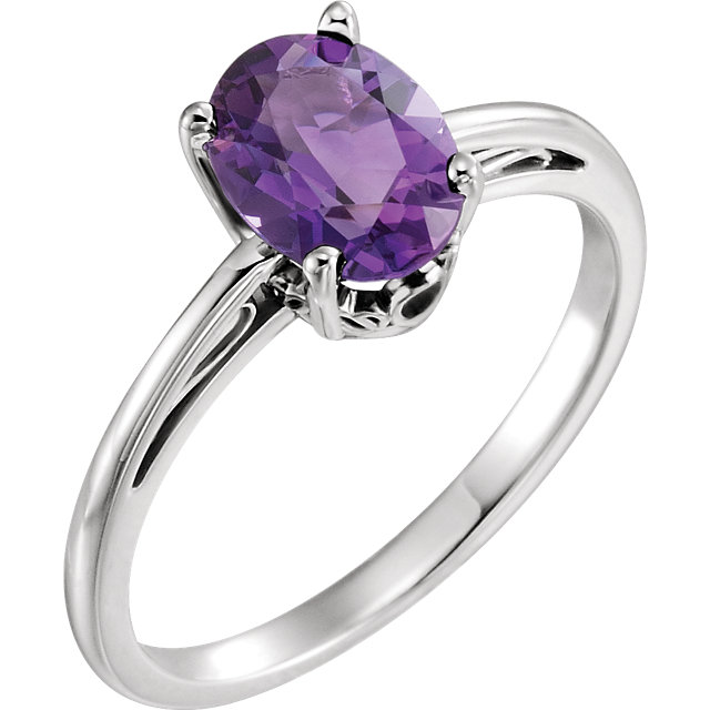 Quality 14 KT White Gold Amethyst Ring