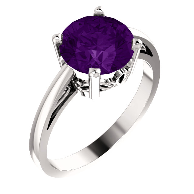 Classic 14 Karat White Gold Round Genuine Amethyst Ring