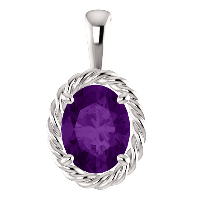 Contemporary 14 Karat White Gold Amethyst Rope Pendant