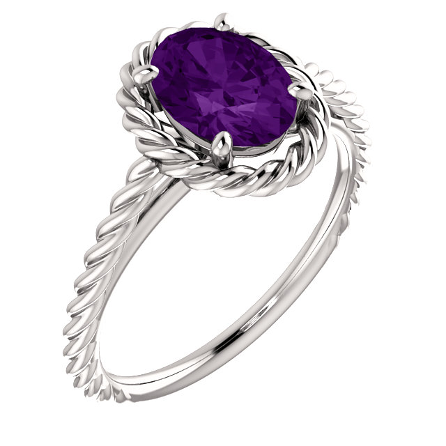 14 KT White Gold Amethyst Rope Ring