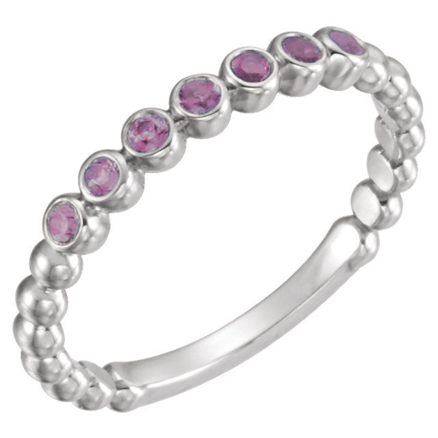 Easy Gift in 14 Karat White Gold Amethyst Stackable Ring
