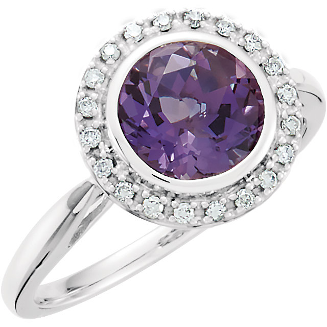 Genuine 14 Karat White Gold Amethyst & 0.12 Carat Diamond Ring
