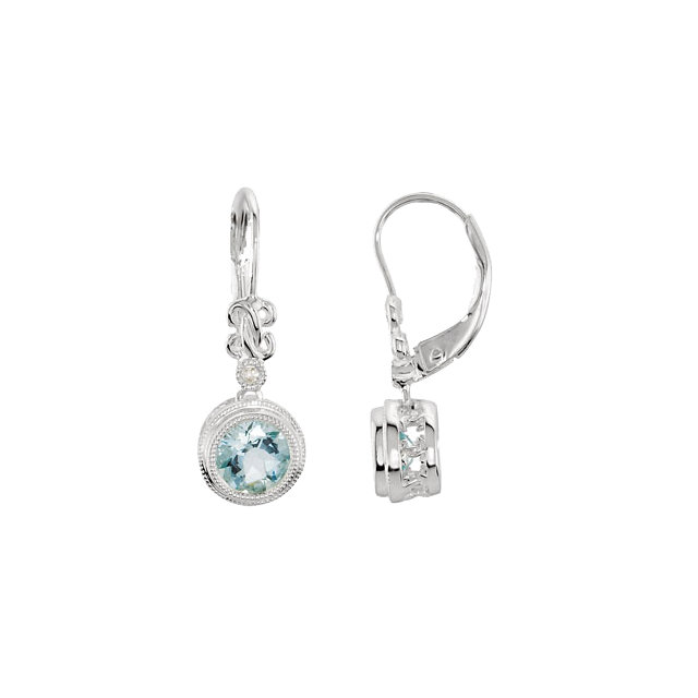 Fine Quality 14 Karat White Gold Aquamarine & .02 Carat Total Weight Diamond Earrings