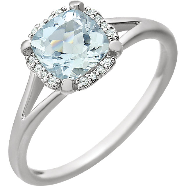 Great Deal in 14 Karat White Gold Aquamarine & .05 Carat Total Weight Diamond Ring