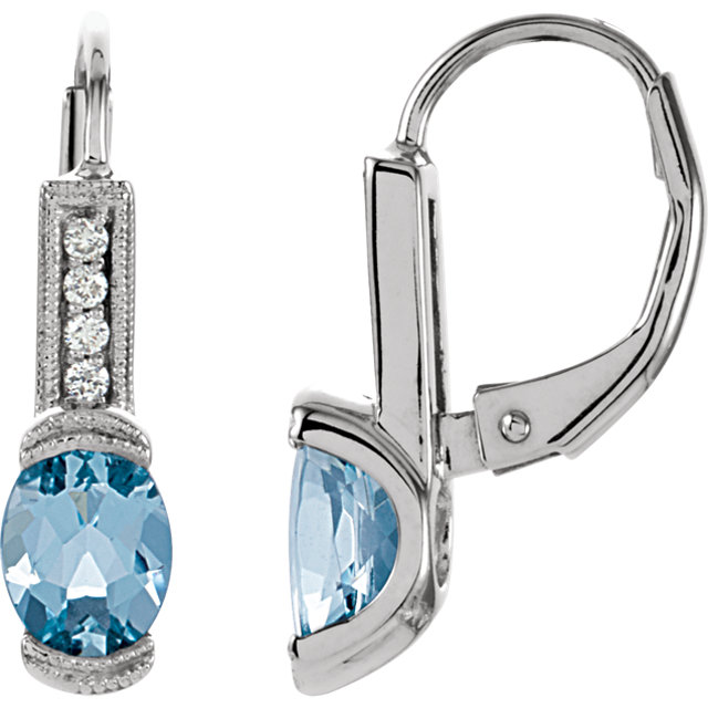 Surprise Her with  14 Karat White Gold Aquamarine & .08 Carat Total Weight Diamond Earrings