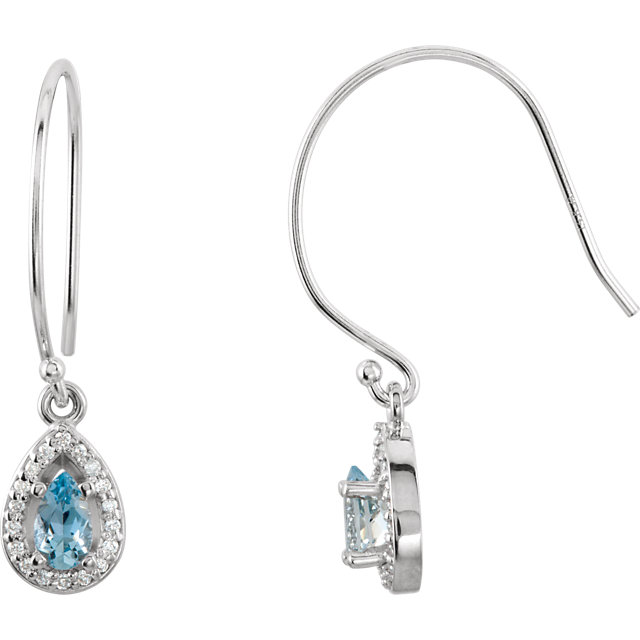 Great Gift in 14 Karat White Gold Aquamarine & 0.10 Carat Total Weight Diamond Earrings
