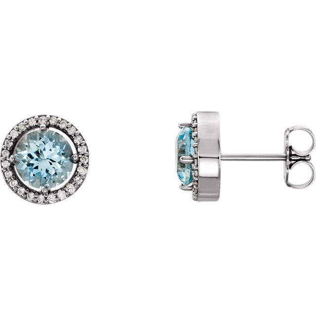Perfect Jewelry Gift 14 Karat White Gold Aquamarine & 0.17 Carat Total Weight Diamond Earrings