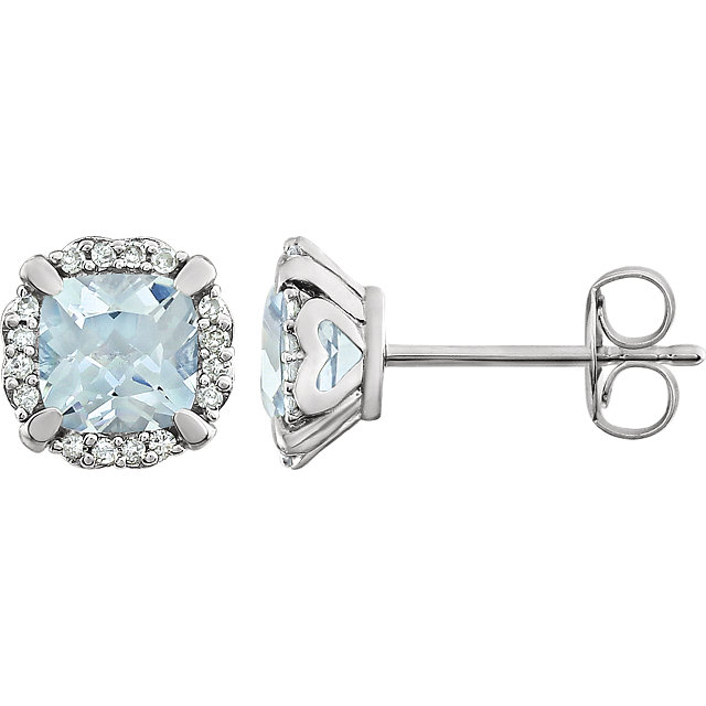 Must See 14 Karat White Gold Aquamarine & 0.10 Carat Total Weight Diamond Earrings