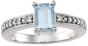 Chic 14 Karat White Gold Aquamarine & 0.10 Carat Total Weight Diamond Ring