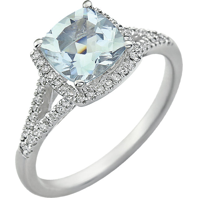 Must See 14 Karat White Gold Aquamarine & 0.20 Carat Total Weight Diamond Ring
