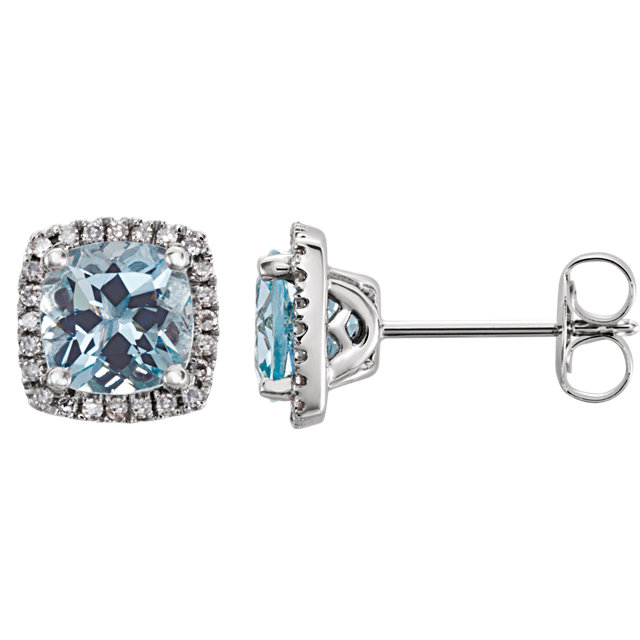 Great Deal in 14 Karat White Gold Aquamarine & 0.12 Carat Total Weight Diamond Earrings