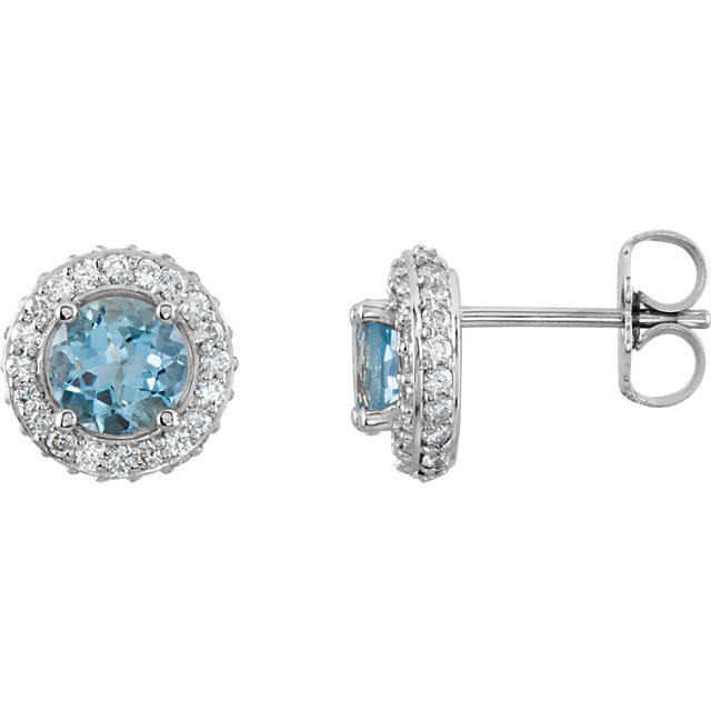 Perfect Gift Idea in 14 Karat White Gold Aquamarine & 0.33 Carat Total Weight Diamond Earrings