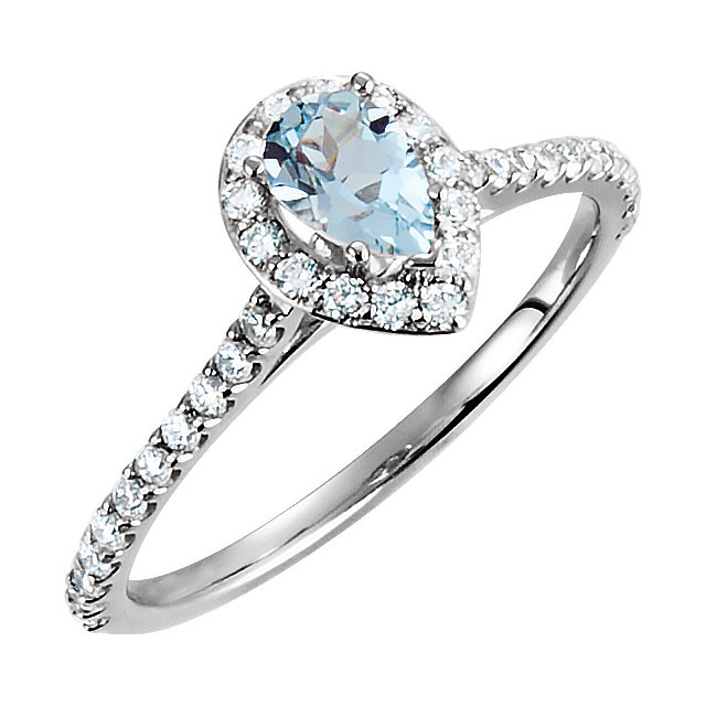 Contemporary 14 Karat White Gold Aquamarine & 0.40 Carat Total Weight Diamond Engagement Ring