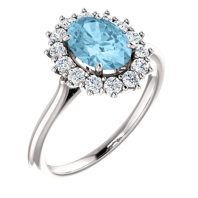 Wonderful 14 Karat White Gold Aquamarine & 0.40 Carat Total Weight Diamond Ring