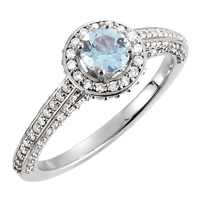 Easy Gift in 14 Karat White Gold Aquamarine & 0.60 Carat Total Weight Diamond Engagement Ring