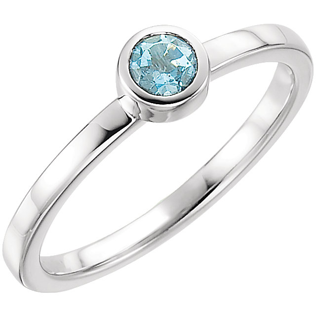 Great Gift in 14 Karat White Gold Aquamarine Ring