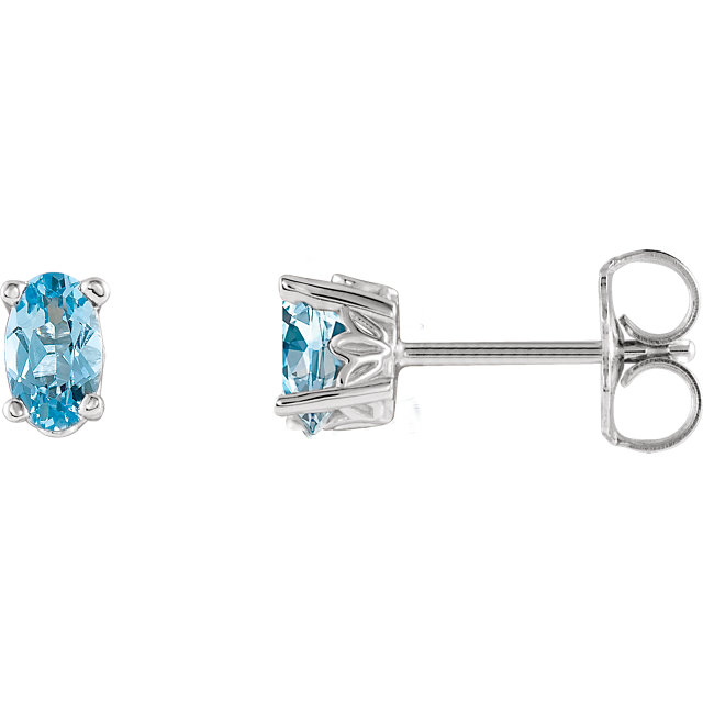 Alluring 14 Karat White Gold Oval Genuine Aquamarine Earrings