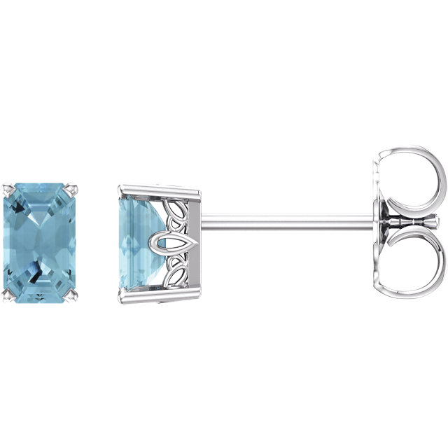 Stunning 14 Karat White Gold Emerald Genuine Aquamarine Earrings