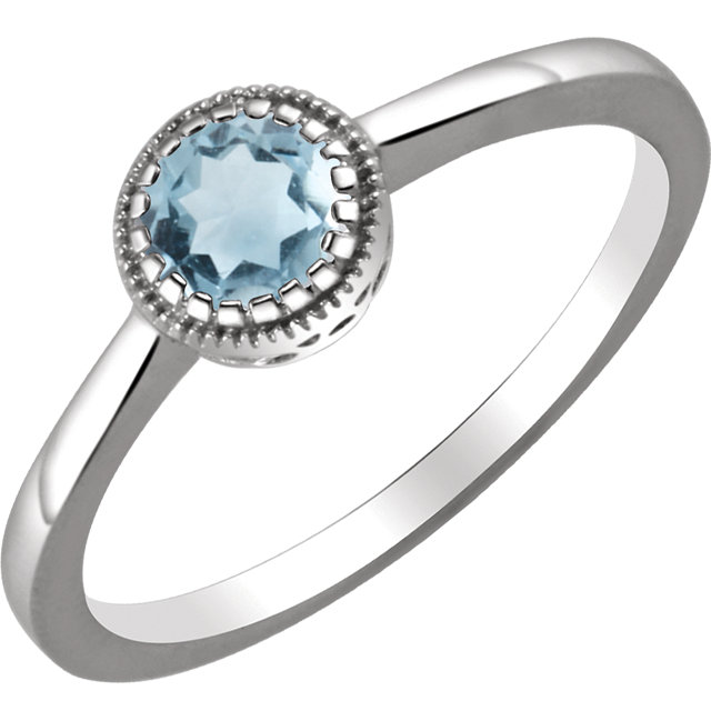 Great Gift in 14 Karat White Gold Aquamarine